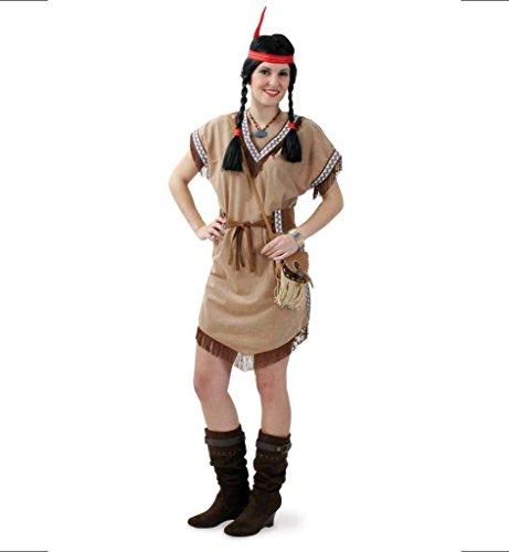 Für Gürtel Erwachsene Kostüm - KarnevalsTeufel Damenkleid Indianer Heller Stern 1-TLG. Indianerkostüm mit Gürtel Indianerin Wilder Westen Kostüm für Erwachsene (50)