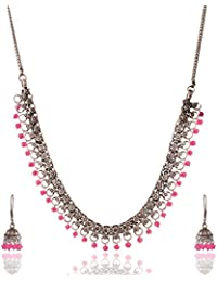 Ganapathy Gems Pink Metal Strand Necklace Set For Women (13271)