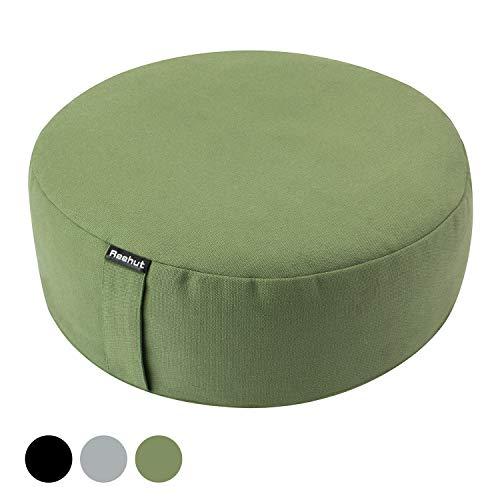 REEHUT Zafu Cuscino per Meditazione Yoga, Imbottito con Grano Saraceno - Rivestimento in Cotone Organico o Canapa,33×33×11cm(Verde)