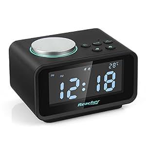Reacher Radio Réveil Double Alarme,Radio FM Numérique Thermomètre Intérieur LCD Affichage Dimmable,Snooze Fonction Dual USB Ports Téléphones Intelligents Tablettes