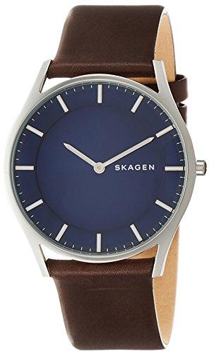 Skagen SKW6237P - Reloj (Reloj de Pulsera, Masculino, Plata, Cuero, Marrón, Alrededor)