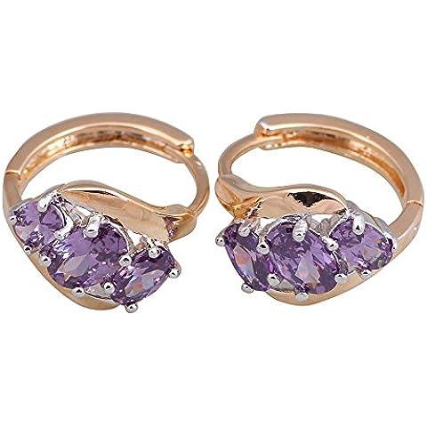 Serpiente Oro redonda púrpura Zircon Piedras Cluster marca Fashion Amatista Pendientes para mujer