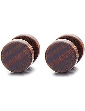 8-10MM Holz Kreis Herren Damen Ohrstecker Ohrringe Fakeplugs Fake Ohr-Plug Tunnel Gauges Ohr-Piercing. 1 Paar