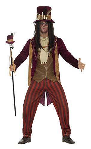 Smiffys 46875L - Herren Deluxe Voodoo Hexen Doktor Kostüm, Hose, Jacke, Weste, Kette und Hut, Größe: L, rot