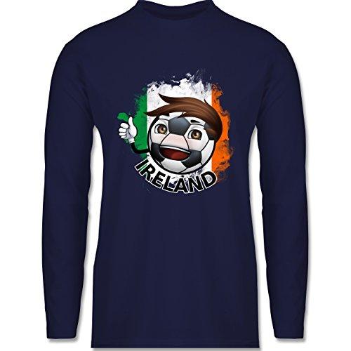 Shirtracer Fußball - Fußballjunge Irland - Herren Langarmshirt Navy Blau