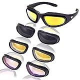 JANPRY Polarisierte Sport-Sonnenbrille, Kit mit schwarzem Rahmen und 4Gläsern, UV400, Brille fürRadfahren, Motorrad, für Erwachsene, Herren & Damen