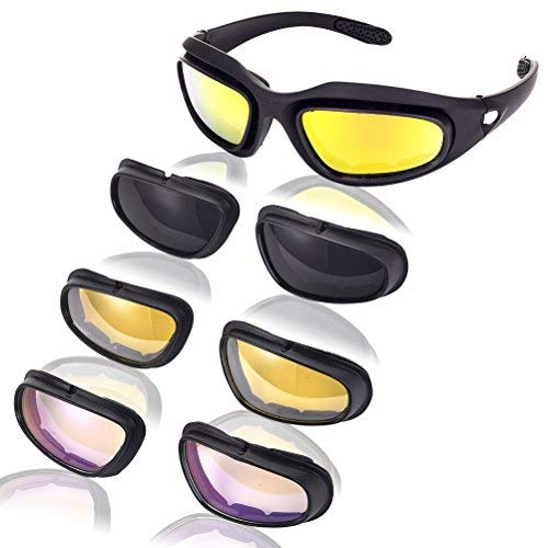 JANPRY Polarisierte Sport-Sonnenbrille, Kit mit schwarzem Rahmen und 4Gläsern, UV400, Brille fürRadfahren, Motorrad, für Erwachsene, Herren & Damen - Mlc Tasche