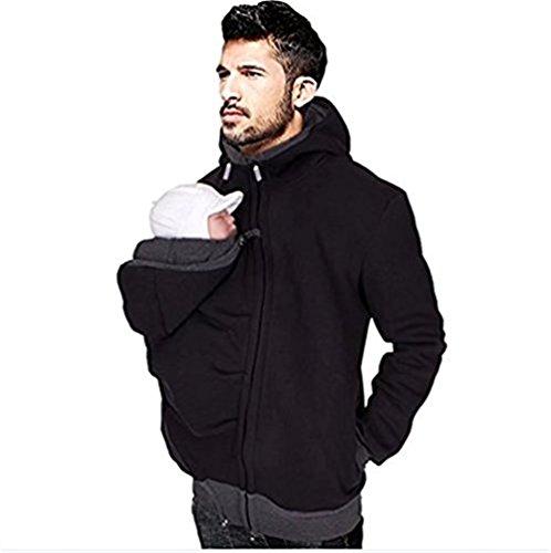 Mens Kangaroo Fleece Zip up Maternity Pullover Sweatshirts Hoodie Jackets Dad and Baby Carrier Coats (M)