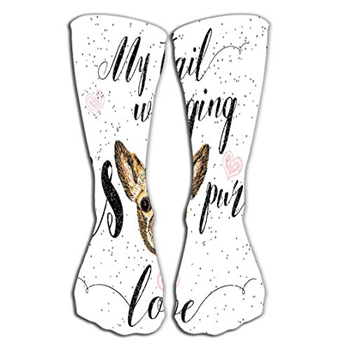 ts Men Women High Socks Stocking Cute Little Smiling Dog My Tail Wagging Pure Love Lettering Calligraphy Motivational Quote pet Lover Tile Length 19.7
