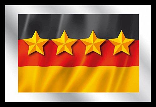 empireposter - Deutschland Flagge - 4 Sterne - Größe (cm), ca. 30x20 - Bedruckter Spiegel, NEU - Beschreibung: - Bedruckter Wandspiegel mit schwarzem Kunststoffrahmen - (Gewinner Flagge)