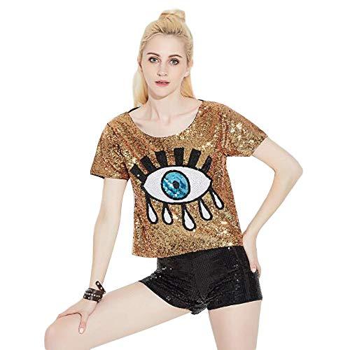 Bmeigo Frau Pailletten-T-Shirt Lose gedruckt Dame Hiphop Tanzen Glänzende Tops Cheerleader Performance Kostüm, Gold, - Damen Hip Hop Kostüm