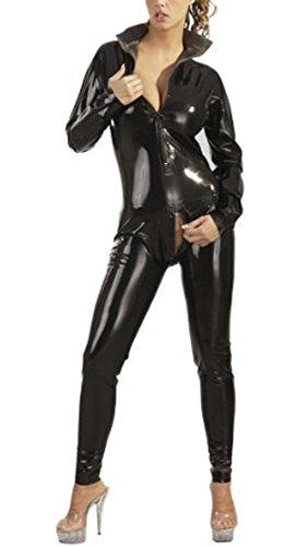 Einblick Zip (Sexy Damen Latex Catsuit mit Stehkragen und Zip S - XL Schwarz The Latex Collection Größe (L)arge)