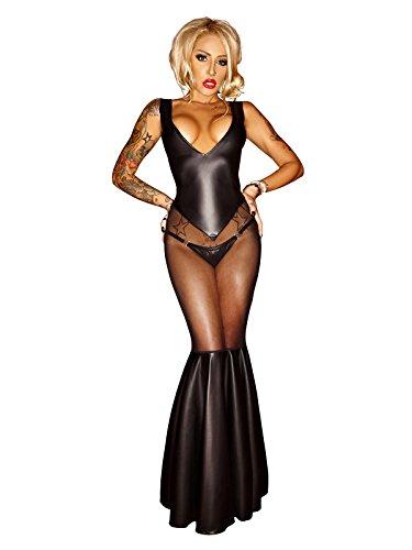 Sexy Kleid Adult Meerjungfrau Kostüm - XIONGMEOW Frauen Sexy Dessous Lange Meerjungfrau Kleid Adult Party Performance Kostüm Netz Garn Mit Lack Cosplay Nachthemd Versuchung Spaß Nachtwäsche