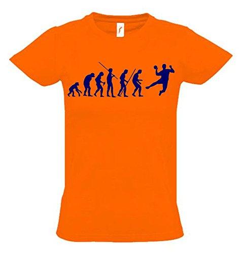 HANDBALL Evolution Kinder T-Shirt orange-navy, Gr.164cm
