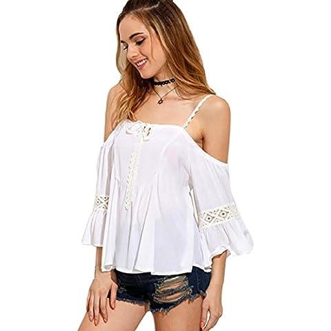 Tongshi Las mujeres del verano sueltan la blusa sin espalda Top casual de las señoras camiseta de las tapas (EU 36 (Asia
