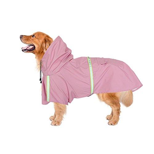 Hundebekleidung Hunde Regenmantel Wasserdicht Regensjacke Hunde Hunderegenmantel Dog Raincoat Reflektierende Streifen Pet reflektierender Streifen Hundemantel,Geeignet für große, mittlere und kleine Hunde, Multi-Color optional Mode portable (2XL, Pink)