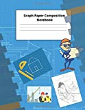 Graph Paper Composition Notebook: 4x4 squares, 8.5 by 11 inch notepad,blue print cover