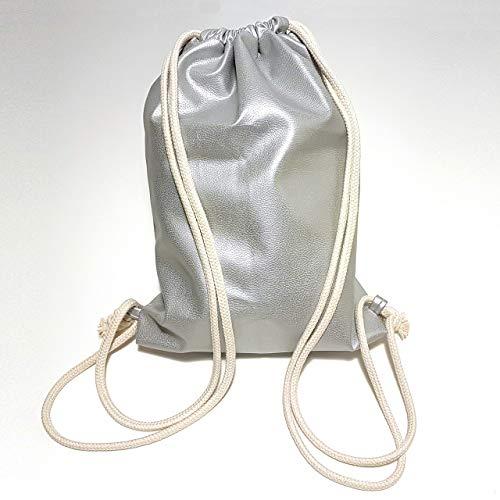 Turnbeutel - Kunstleder Silber Metallic - Rucksack aus Kunstleder - 3 Größen verfügbar - Handarbeit - Tasche Sportbeutel Gym Bag Jutebeutel Beutel -