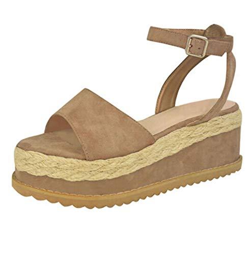Sandali Donna,Hoopert Sandali Donna Estivo Open Toe Scarpe Scamosciato Tacco Zeppa Espadrillas Moda Casual Sexy High Heels Roman Sandals (36 EU, Cachi)