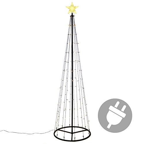 150 LED Lichtpyramide mit Leucht-Stern Lichterbaum warm weiße Dioden 240 cm Baum mit Stern Trafo Weihnachtsbaum Weihnachtsdeko Außen Leuchtbaum