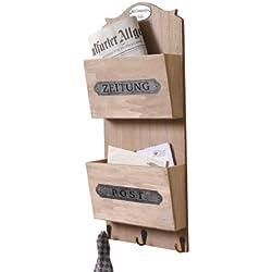 Frank - Porta giornali/lettere in legno (con scritte in lingua tedesca)