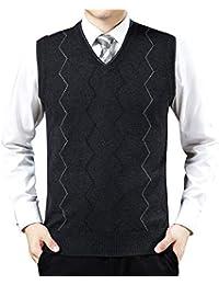 Saoye Fashion Herren V Ausschnitt Pullunder Business Stricken Strickweste  Weste Kleidung Frühling Herbst Normallacks Ärmellos… 1a643dddcb