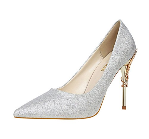 XINJING-S Bowknot High Heels Schuhe Party Hochzeit Frauen Pumps Heels OL Kleidung Schuhe Sandalen Silber + PU