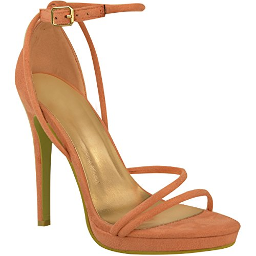 Scarpe Donna Barely There Sandali Stiletto A Strappo Scarpe Da Festa Misura Color Pesca Camoscio Sintetico