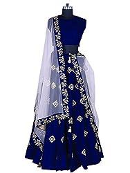 Fabcartz Blue color Embroidered Silk Lehenga choli with Lace border Dupatta (Blue)