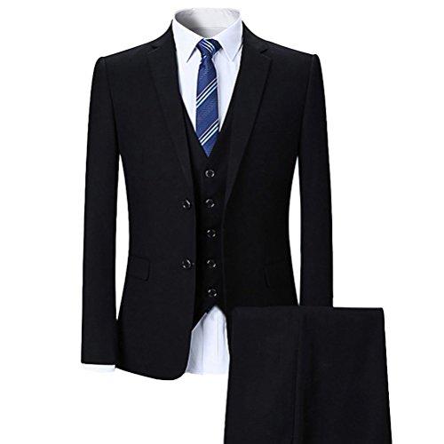 YOUTHUP Slim Fit 3 Teilig Business Hochzeit Herren Anzug (Smoking Anzüge)