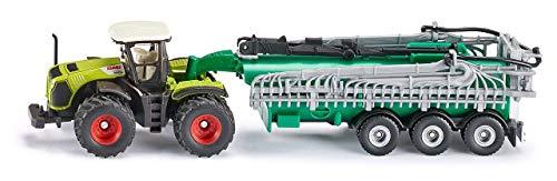 SIKU 1827, Claas Xerion Traktor mit Fasswagen, 1:87, Metall/Kunststoff, Grün, Ausschenkbarer Schleppschlauchverteiler