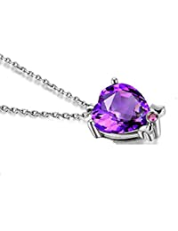 Heart Pendant 925 Sterling Silver Necklace for Women Girl Mother's Day Gifts Purple Cubic Zirconia,Synthetic June Birthstone 18