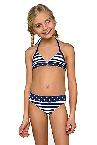Kinder Kinder Mädchen Bikini Badebekleidung dunkelblau Marineblau, dunkelblau