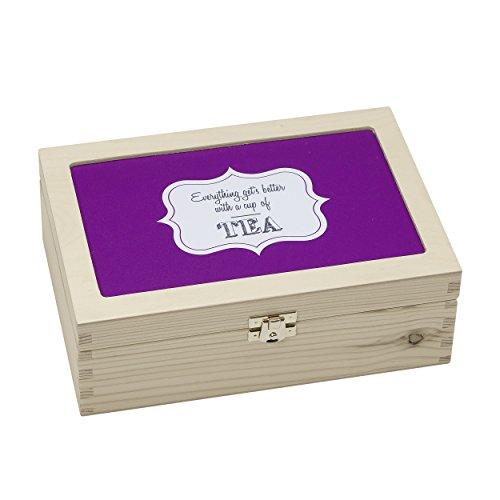 Blaue bunte Teebox aus Holz: individuelle Holzkiste für Teebeutel