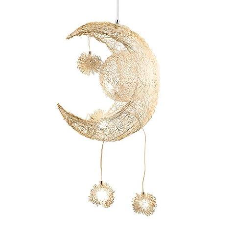 Egomall Lampe en aluminium Suspension de lune et étoiles Lustre moderne pour chambre d'enfant