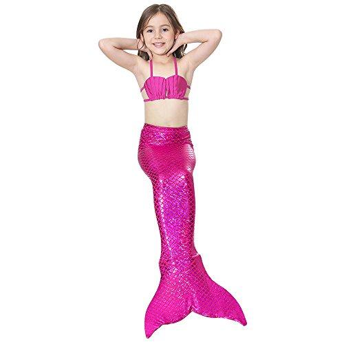 chen Meerjungfrau Shell Badeanzug Mermaid Tails Bademode Bikini Sets Bikini Top + Unterwäsche + Meerjungfrau Schwanz Dunkelrosa Größe 140 (Halloween Kostüme Für Die 50's Girl)