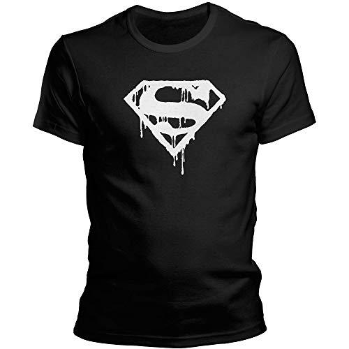 DragonHive Herren T-Shirt Superman Logo Symbol Man of Steel, Größe:4XL, Farbe:Schwarz