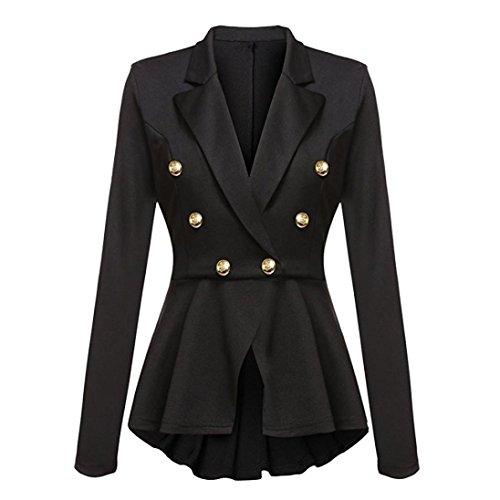 Manteau Blazer à manches longues Femmes, Toamen Ruffles Button Veste décontractée Veste à manches longues Outwear Costume Femmes (XL, Noir)