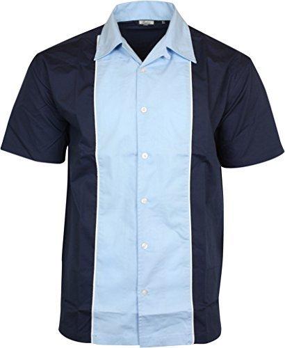 Relco Herren Kurzärmelig Bowling Shirt in marineblau/himmelblau NEU Größe M - XXXL - Blau, X-Large Klassischen Bowling-shirt