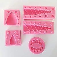 Unicorn - Moldes de silicona para fondant con orejas de cuerno y pestañas para decoración de