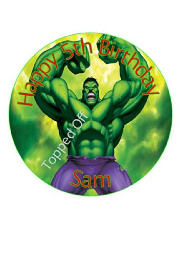 """Image of Hulk 7.5"""" round fondant icing edible cake topper and printed with your custom greeting - (FREE UK SHIPPING)"""