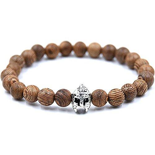 cameleon-shop Armband tibetischen ausziehbar???Helm Krieger r?mischen???Perle Holz braun 8?mm???Perle Metall???L?nge 17?cm