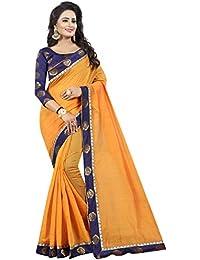 Vastrang Women's Chanderi Cotton Saree With Blouse Piece(1312ROSORG_Orange_Free Size)