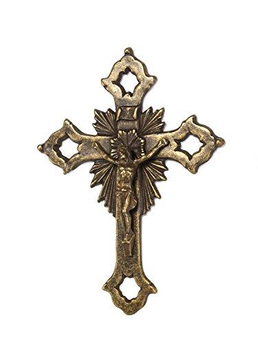 Kruzifix im Nostalgie anitk Stil Kreuz Eisen 29cm Jesus Eisen Deko iron cross