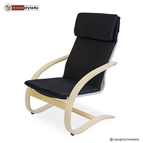 Homestyle4u Schwingsessel Freischwinger Sessel in schwarz Relaxsessel Schaukelstuhl Schwingstuhl