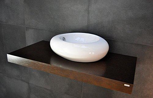 Carl Svensson Edler Waschtisch Waschtischplatte Waschkonsole Eiche mit Halterung WT-120 + WT-120H (WT-120H Walnuss-Wenge mit Handtuchhalterung) -