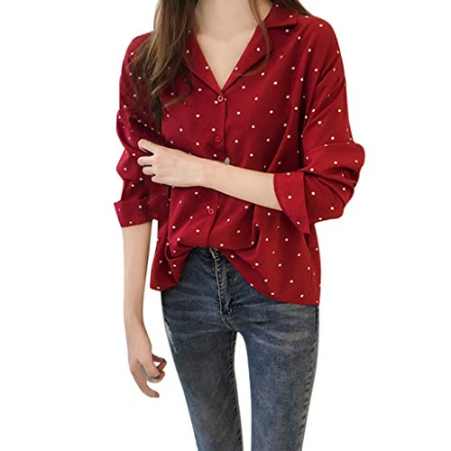 (MEIbax Damen Dots Printed Langarm Fit Slim Tops Blusen-Shirt Knopf Oberteile Langarmshirt Hemd)