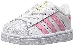 adidas Originals Girls' Superstar I Sneaker, White/Clear Light Pink Metallic/Gold, M Toddler