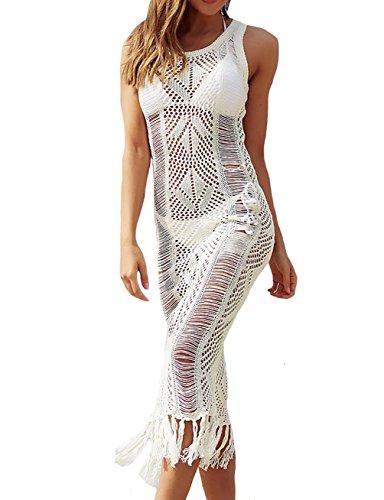 Crochet Detail Knit Kleid (Bestyou Damen Häkelstrickkleid Sexy Badeanzug Bikini Badeanzug Überzug Bademode Lange Strandmode - - Freie Größe)