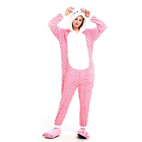ll Hoodie Tier Pyjama Kitty Cat Cartoon Pyjamas Onesies Overall Nachtwäsche Erwachsene Nachtwäsche Kigurumi Cosplay Kostüm ()